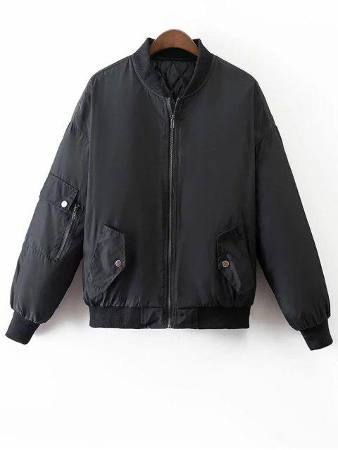 fashion Crane Embroidered Zippered Souvenir Jacket - BLACK M Mobile