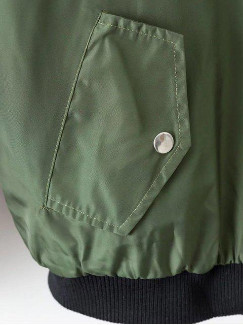 fancy Crane Embroidered Zippered Souvenir Jacket - GREEN L Mobile