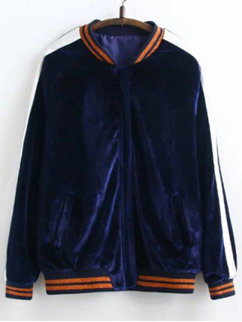 outfits Velvet Floral Embroidered Jacket - PURPLISH BLUE M Mobile