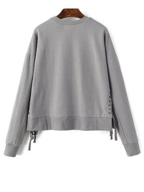 fancy Lace Up Jewel Neck Sweatshirt - GRAY ONE SIZE Mobile