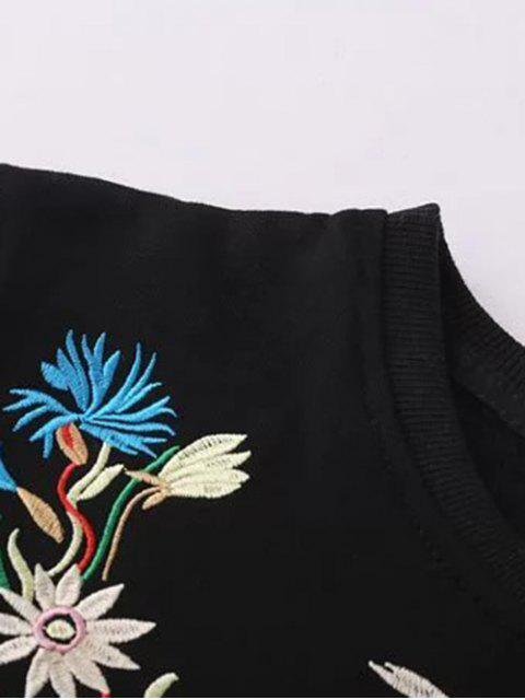 lady Fleeced Floral Embroidered Sweatshirt - BLACK M Mobile