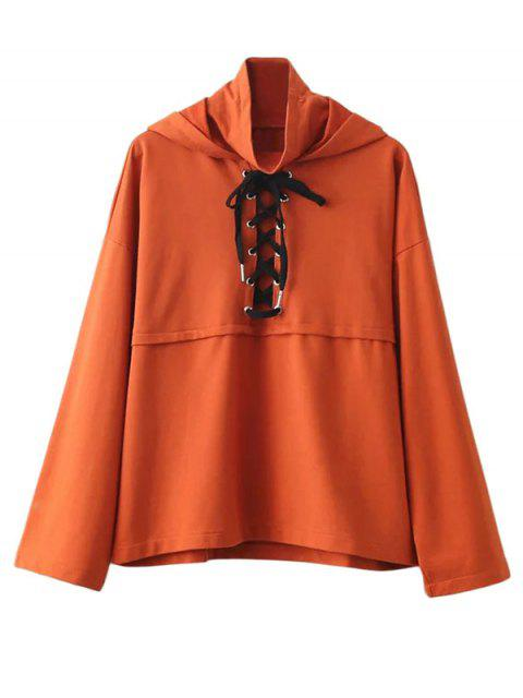 outfit Lace Up High Neck Hoodie - ORANGE M Mobile