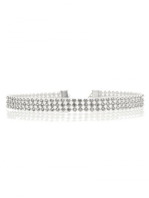 fancy Rhinestone Embellished Necklace - SILVER  Mobile