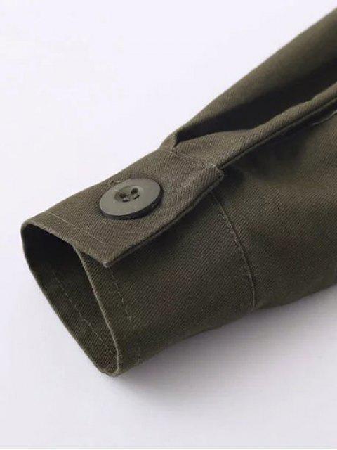 shop Tassels Utility Shirt - ARMY GREEN L Mobile