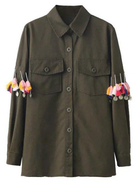 shop Tassels Utility Shirt - ARMY GREEN L Mobile
