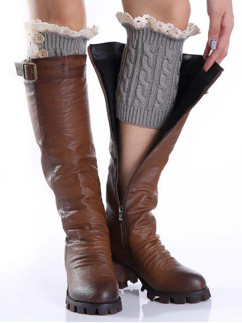 women's Lace Button Cable Knitted Boot Cuffs - LIGHT GRAY  Mobile