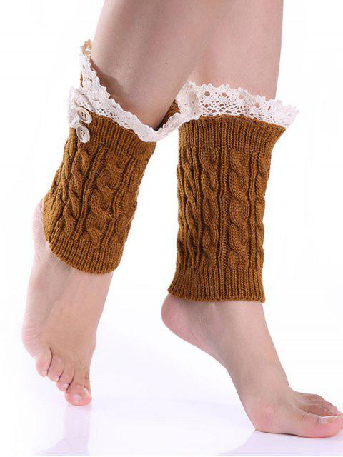 lady Lace Button Cable Knitted Boot Cuffs -   Mobile