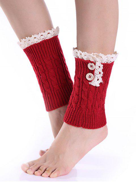 best Lace Button Cable Knitted Boot Cuffs - RED  Mobile