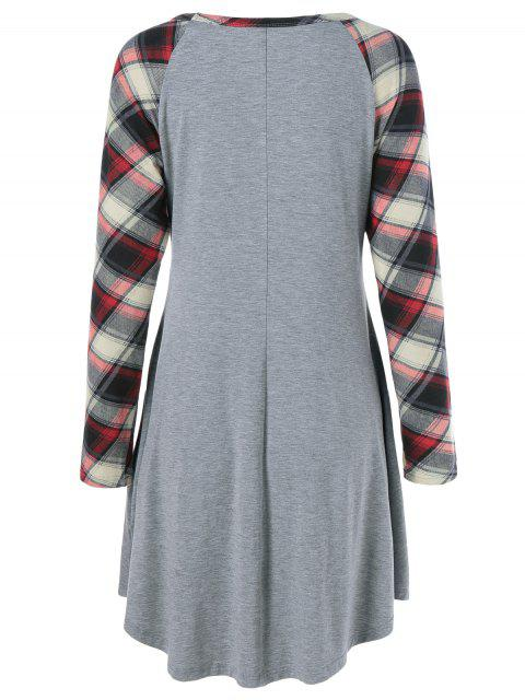 outfits Single Pocket Checked Trim Tee Dress - GRAY XL Mobile
