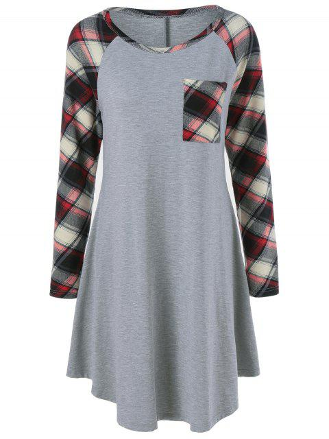 hot Single Pocket Checked Trim Tee Dress - GRAY M Mobile