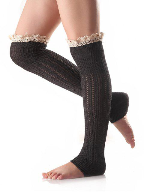 women Lace Edge Knit Leg Warmers -   Mobile