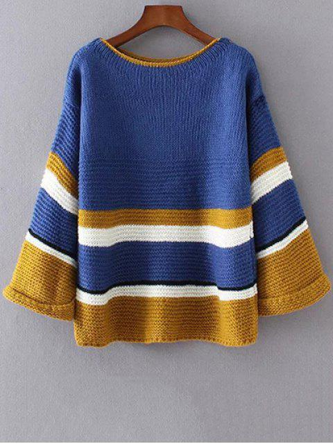 online Color Block Colorful Sweater - BLUE ONE SIZE Mobile
