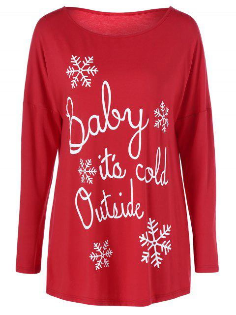 womens Snowflake Printed Funny Tee - RED L Mobile