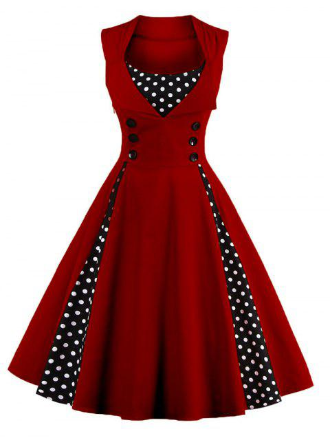 trendy Polka Dot Puffer Midi Dress - WINE RED 4XL Mobile