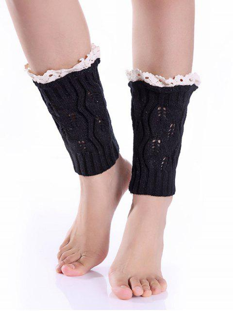 women's Lace Edge Knitted Boot Cuffs - BLACK  Mobile