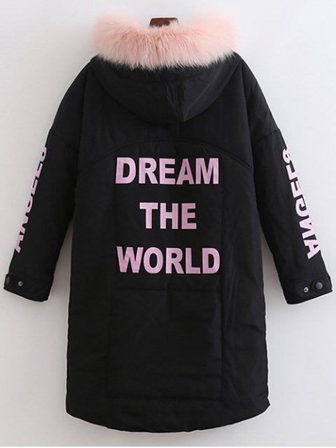 fashion Hooded Letter Padded Coat - BLACK XL Mobile