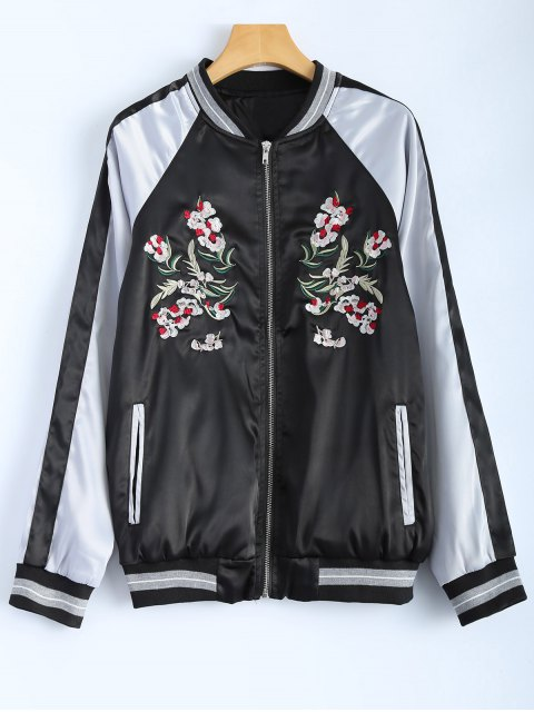 new Color Block Embroidery Jacket - BLACK S Mobile