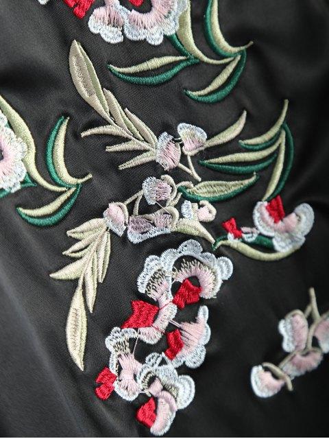 Veste de baseball brodée fleurs à blocs de couleur - Noir S Mobile