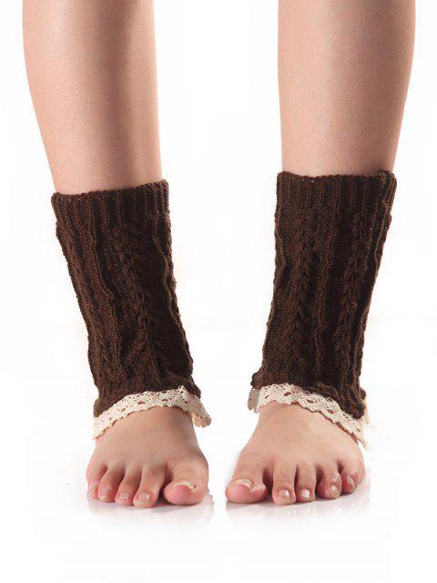 Bracelet de pied tricot embelli panneau de dentelle ciselée - Café  Mobile