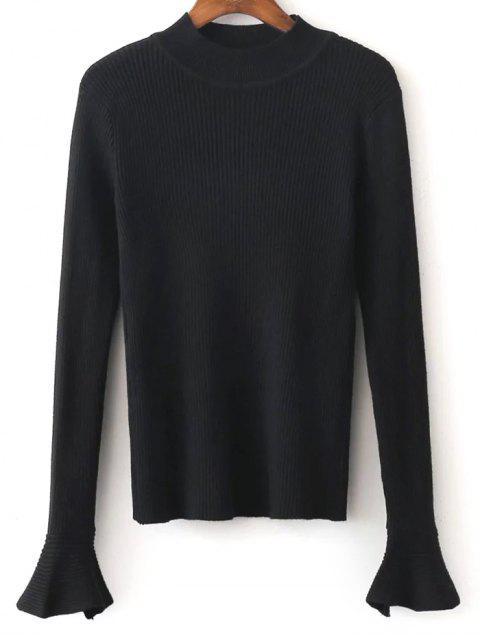 Pull tricoté à manches évasées - Noir Taille Unique Mobile