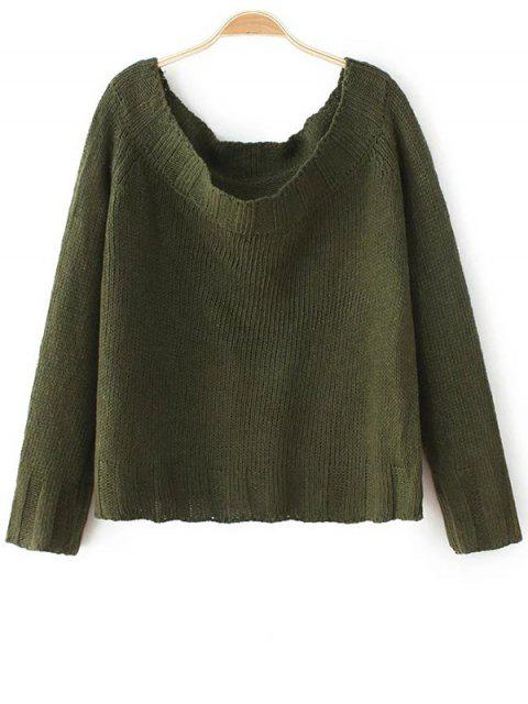 womens Off The Shoulder Cropped Sweater - ARMY GREEN ONE SIZE Mobile