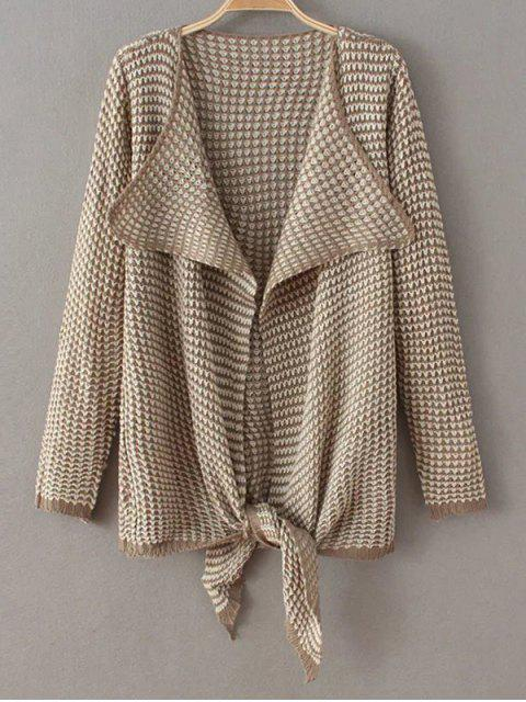 shops Jacquard Asymmetric Cardigan - KHAKI ONE SIZE Mobile
