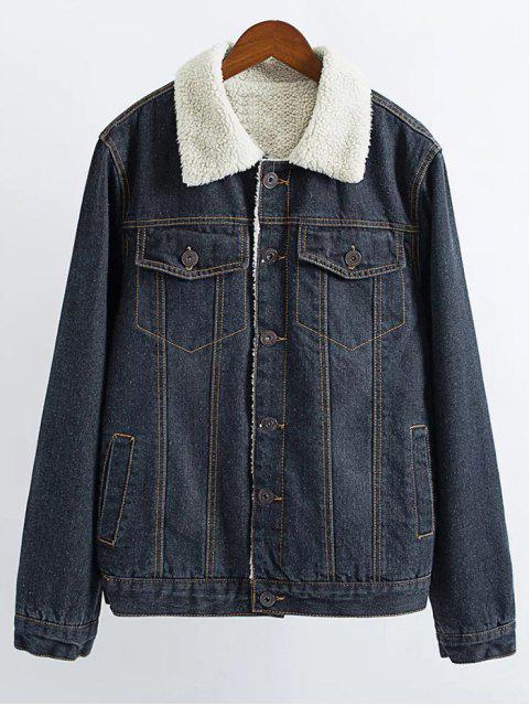 Veste jean vintage en laine d'agneau - Noir S Mobile