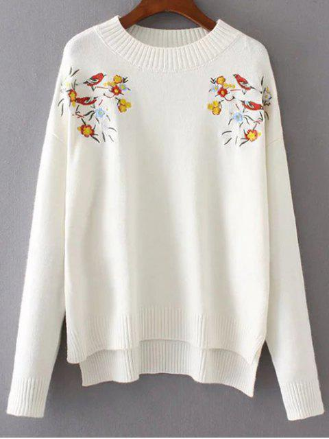 shop Embroidered Loose High-Low Sweater - WHITE ONE SIZE Mobile
