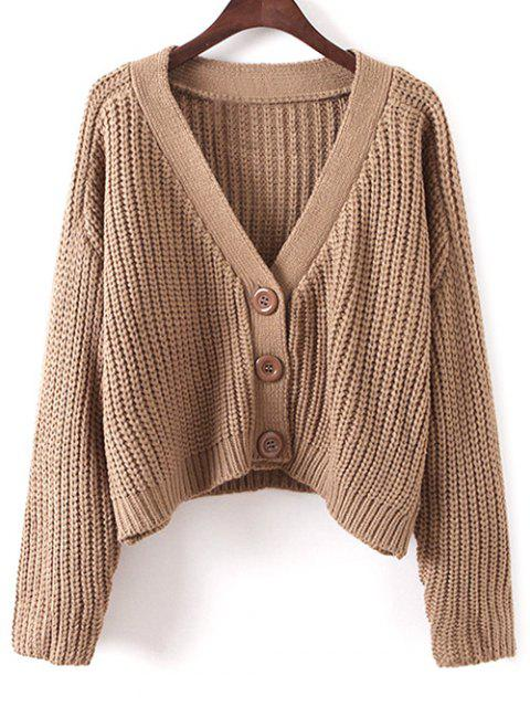 fancy V Neck Chunky Cardigan - KHAKI ONE SIZE Mobile