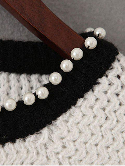 affordable Sequined Beading Sweater - WHITE ONE SIZE Mobile