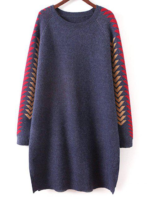 new Geometric Slit Sweater Dress - CADETBLUE ONE SIZE Mobile