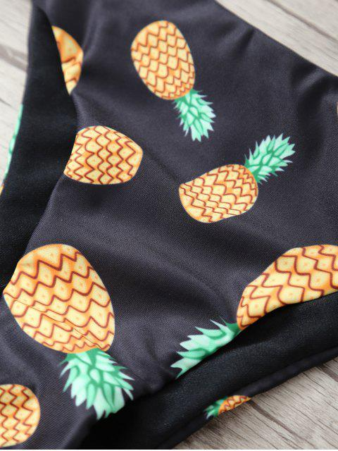 ladies Stringy Pineapple Print Cute Bathing Suit - BLACK M Mobile