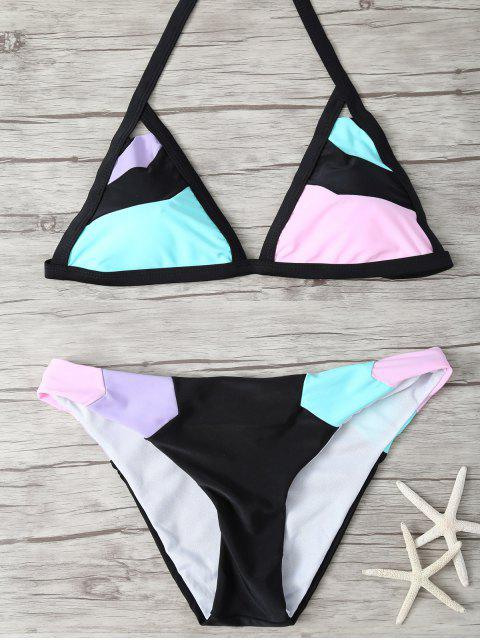 outfits Patchwork Stringy Plunge Bikini - MULTICOLOR S Mobile