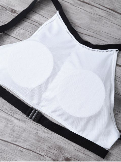 outfits High Neck Padded Color Block Bikini Bathing Suit - WHITE AND BLACK S Mobile