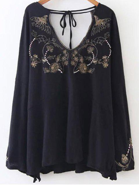 sale Embroidered Beading Flowy Blouse - BLACK M Mobile