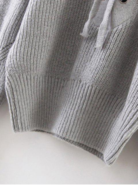 Pull à nervures à lacets à col round - Gris TAILLE MOYENNE Mobile
