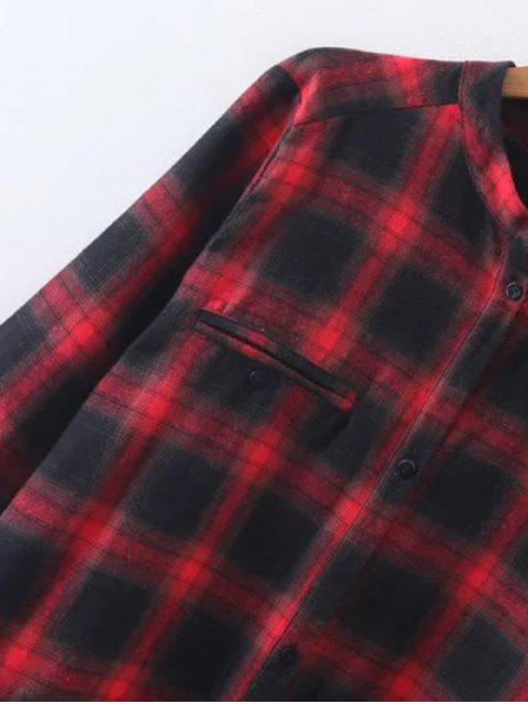 hot Checked Long Sleeves Flannel Shirt Dress - MULTICOLOR L Mobile