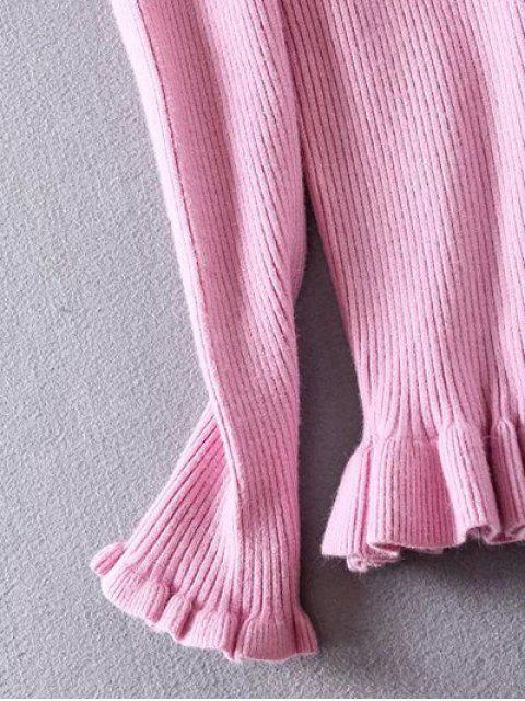 buy Ribbed Boat Neck Frilled Jumper - PINK 2XL Mobile