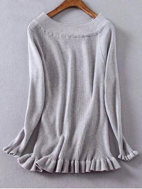 trendy Ribbed Boat Neck Frilled Jumper - GRAY XL Mobile