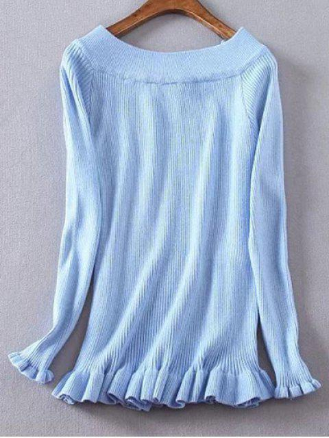 fancy Ribbed Boat Neck Frilled Jumper - BLUE 2XL Mobile