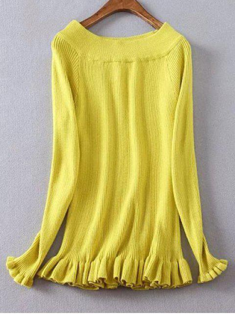 affordable Ribbed Boat Neck Frilled Jumper - YELLOW XL Mobile