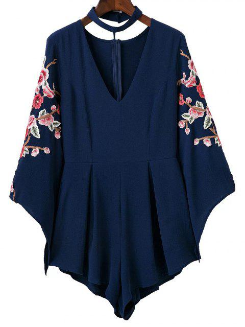 buy Embroidered Sleeve Choker Romper - CADETBLUE S Mobile
