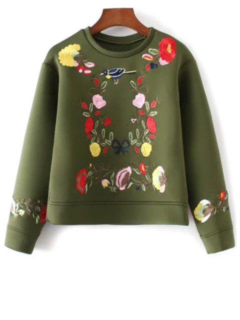 new Floral Embroidered Boxy Sweatshirt - ARMY GREEN L Mobile
