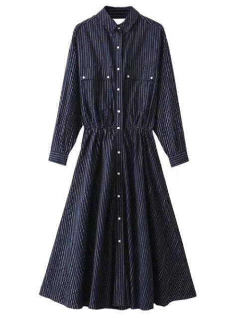 women Striped Cutout Single-Breasted Maxi Dress - PURPLISH BLUE S Mobile