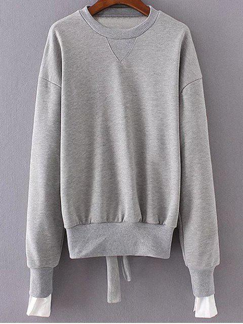 fashion Back Tied Paneled Sweatshirt - GRAY ONE SIZE Mobile