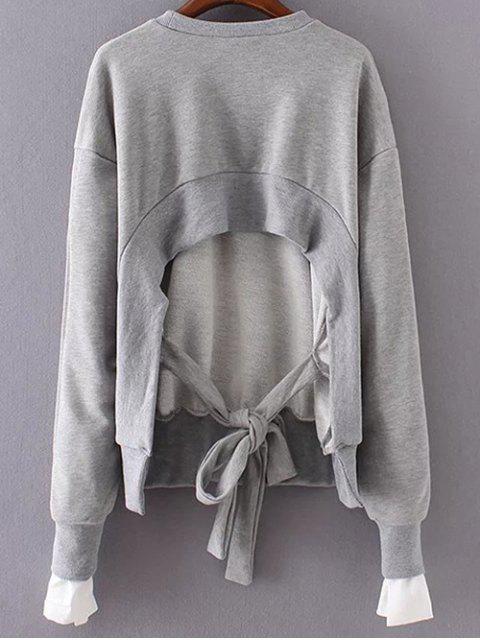 fashion Back Tied Paneled Sweatshirt - GRAY ONE SIZE Mobile