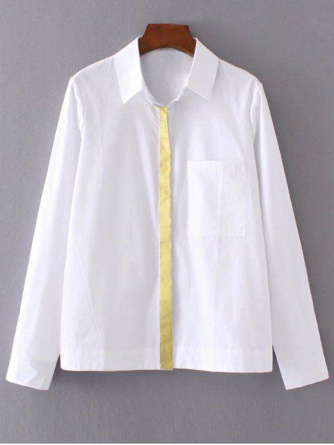 women's Color Block Boyfriend Pocket Shirt - WHITE L Mobile