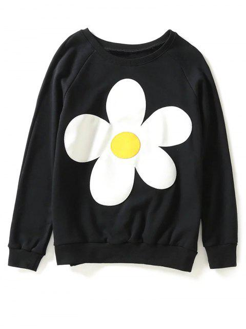 affordable Sun Flower Patch Sweatshirt - BLACK M Mobile