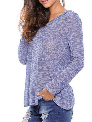 Heathered Hooded Knitwear - Blue S