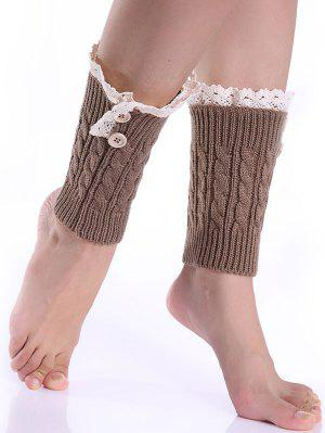 Lace Button Cable Knitted Boot Cuffs - Khaki